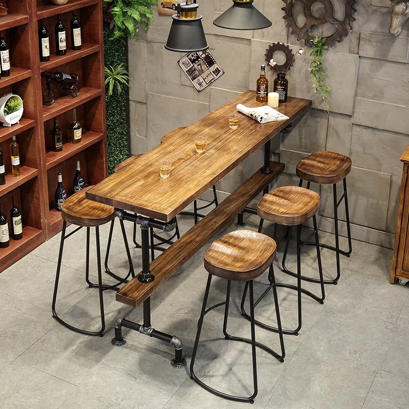 New Design Fashionable Long High Industrial Vintage Restaurant Kitchen Wood Slab Bar Table - Buy Bar Table,High Bar Table,Kitchen Bar Table Product On Alibaba.com