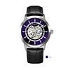 Silver case, purple dial, black leather