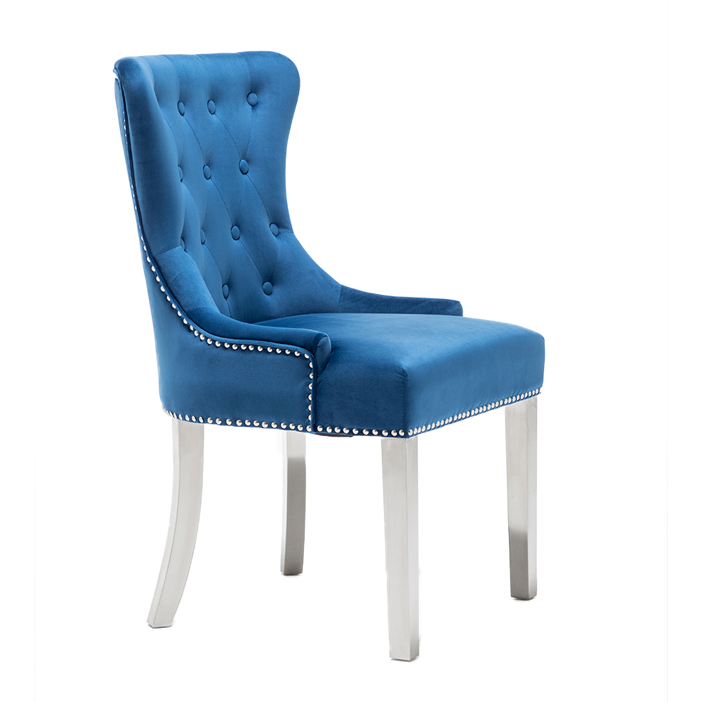 Современный стиль, обеденный стул с обивкой из синего бархата и нержавеющей стали для ресторана