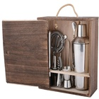 Cocktail Cocktail Shaker Bar Set KLP Stainless Steel 9 Pcs Cocktail Shaker Mixer Bartender Kit Bar Tools Set With Wood Box