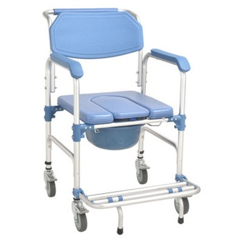 Medical Equipment Shower Commode Chair Foldable Bedside Commode Chair With Wheels Toilet