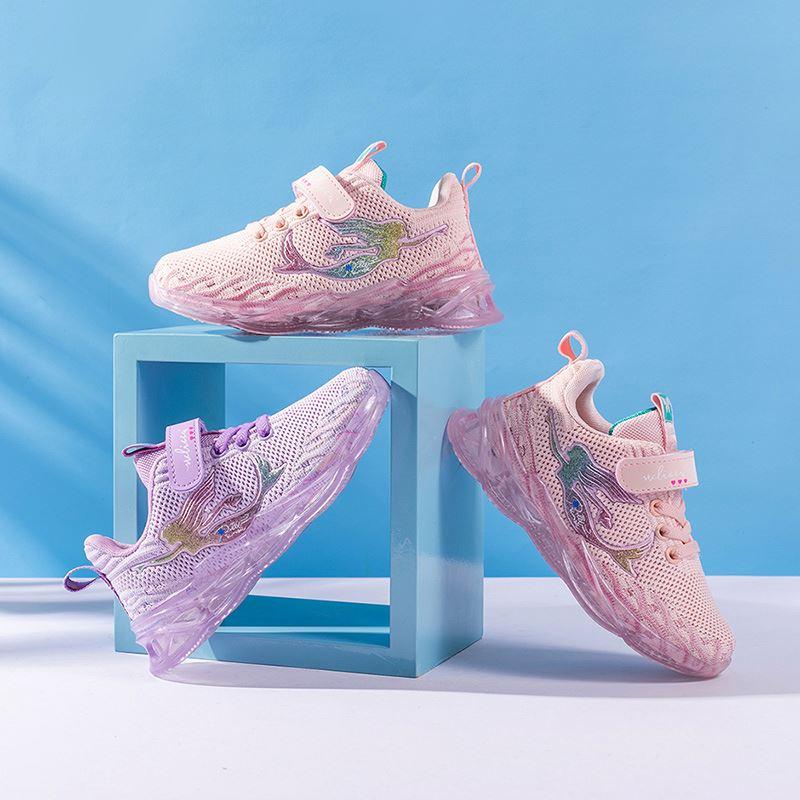 Модная детская повседневная спортивная обувь с мягкой подошвой «Русалочка»; Кроссовки для девочек; 2020