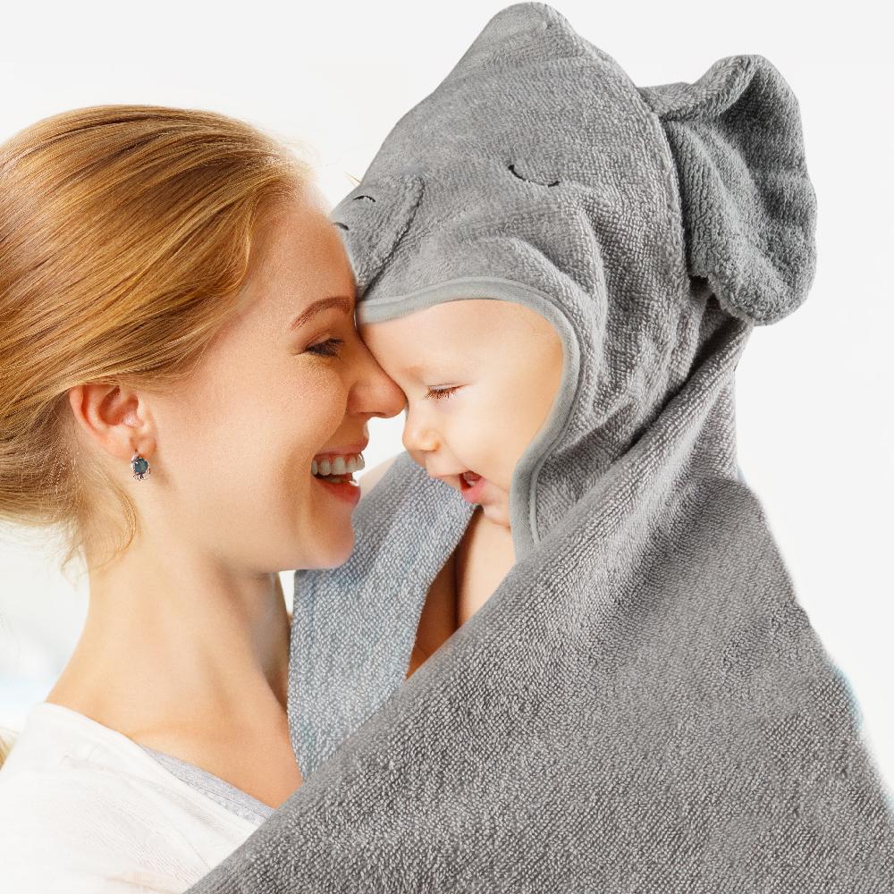 Подходящее для детей обоих полов довольно для детей с изображением слона из органического хлопка с мордами животных детское полотенце с капюшоном