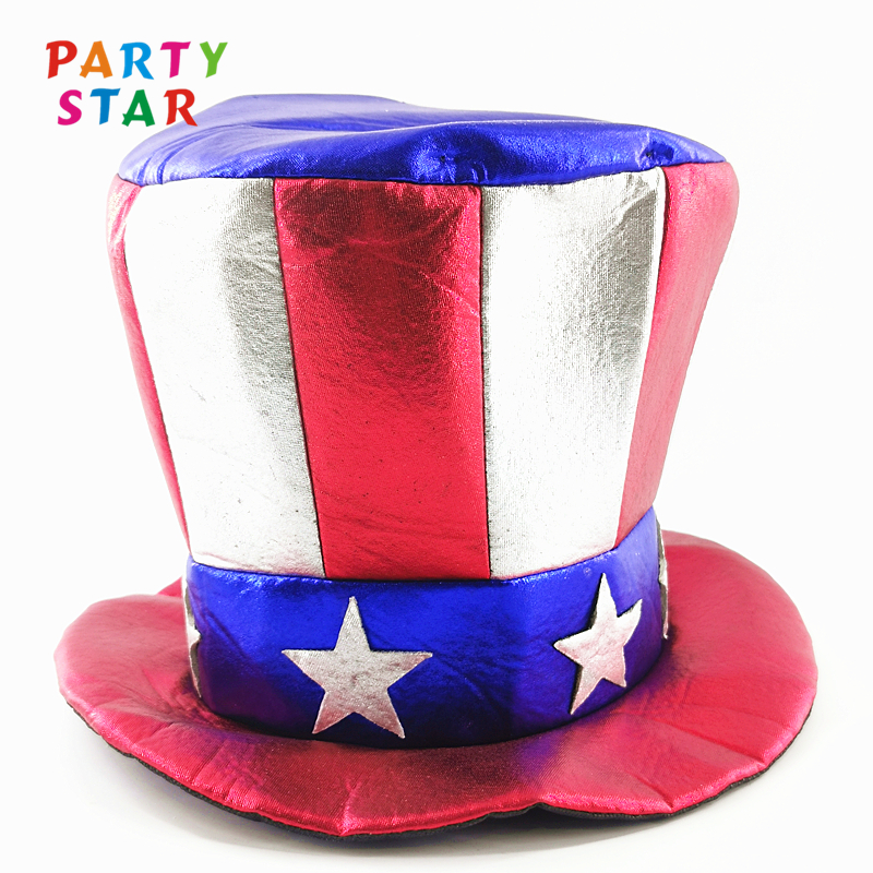 New Fashion Custom Striped Star Top Hat Holiday Hats Uncle Sam Patriotic Adults Hat