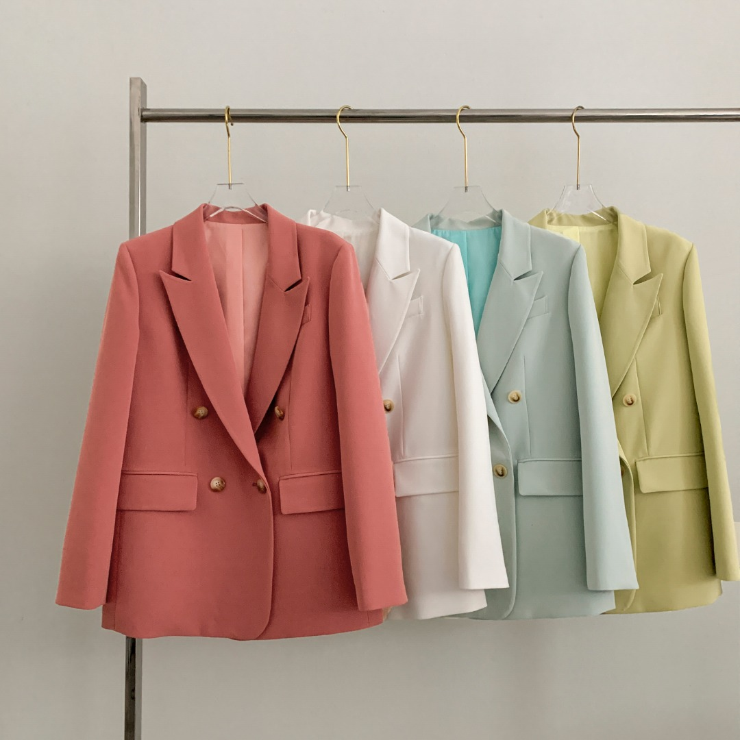 Wholesale Double Breasted Women Casual Fashion Solid Blazers Ladies Blazers And Coats