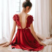 Удобное шелковое платье для сна Сексуальная женская одежда для сна, пижама, атласный ангел, косплей, с открытой спиной, на бретельках, нижнее...(Китай)