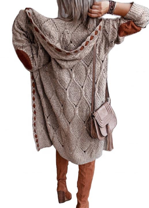 2021 модное осенне-зимнее вязаное длинное пальто с капюшоном, куртка, женский кардиган, женские свитера