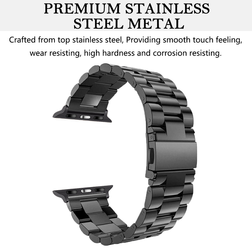 New Solid 304 Double Button Clasp Stainless Steel Metal Watch Band Strap For Apple iWatch 7 Bracelet 41mm 45mm