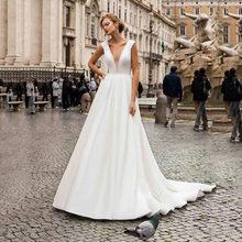 Женское свадебное платье SoDigne A Line, белое сексуальное платье с v-образным вырезом и открытой спиной, простой сатин, свадебное платье для женщи...(Китай)