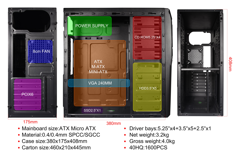 atx manufacturing horizontal itx metal front panel acrylic powertrain pc mini tower Computer Case