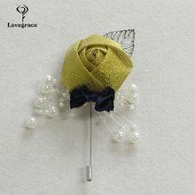 Lovegrace, новинка, Шелковый цветок розы, Мужская бутоньерка для костюма, украшение серебряными листьями, свадебный цветок-бутоньерка, аксессуа...(China)