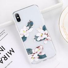 Чехол USLION Green Leaves для iPhone 11 Pro XR XS Max X 3D Рельефный цветочный чехол для телефона iPhone 6 6s 7 8 Plus мягкие силиконовые чехлы(Китай)