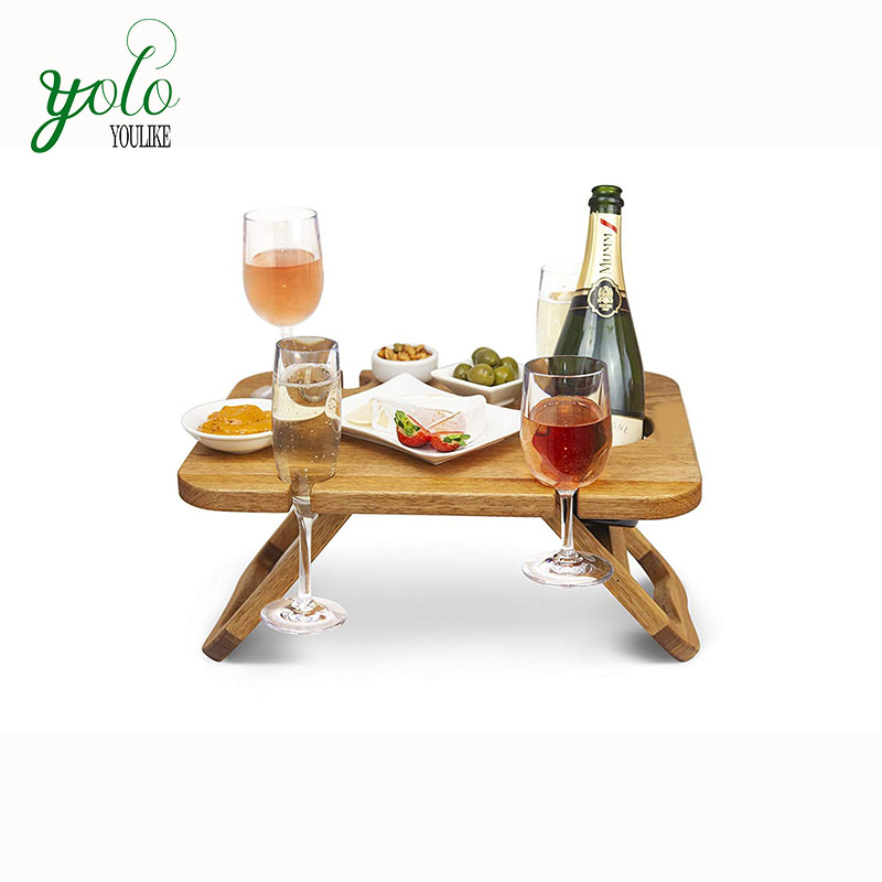 Outdoor Food Serving Tray,Removeable Wine And Snack Holder,Portable Wooden Picnic Table Folding With Legs