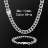 12mm Silver Buckle Clasp Curb Cuban Chain