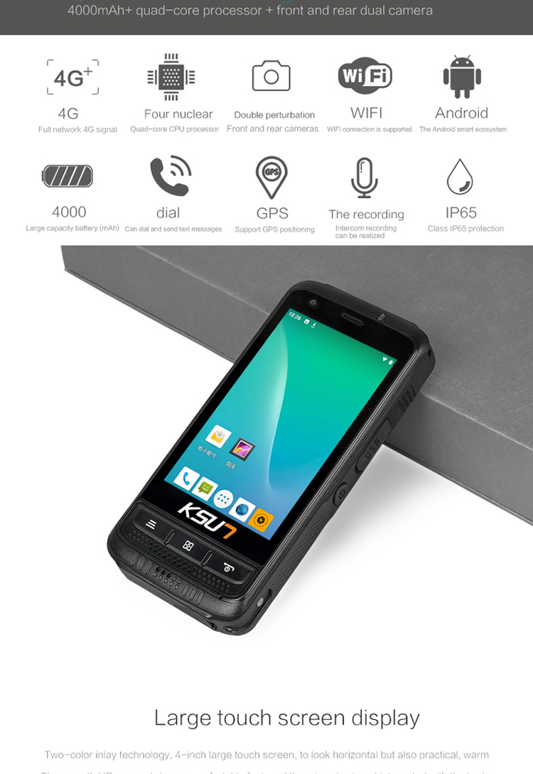 Android SIM Card Mobile Phone Wifi Poc Talki Walki Unlimited Distance KSXAL2 4G LTE Radio GPS Portable Zello Walkie Talkie