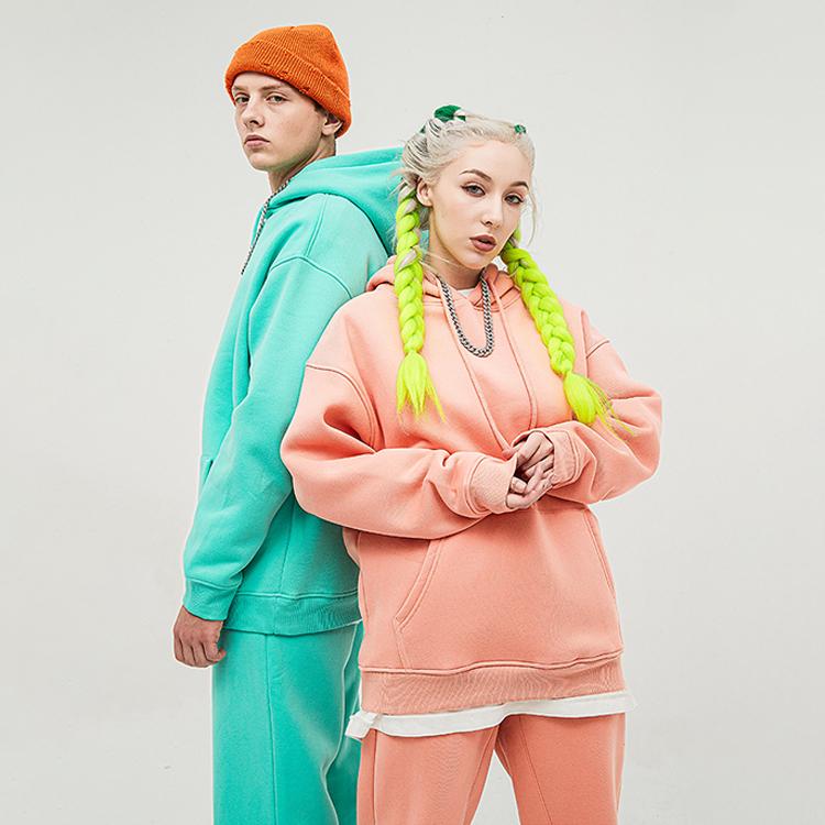Unisex Streetwear Fashion Hoodie  2 Piece Set Women Joggers Outfit Thick Sweatpants Set