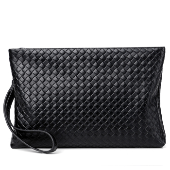 Korean style fashion zipper black men women cosmetic portable casual handbag envelope design leather clutch bag handbag