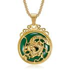 Olivia In Stock Chinese Tibet Gold Animal Necklaces Malay Jade Pendant Women Stainless Steel Green Jade Dragon Pendant Men Boys