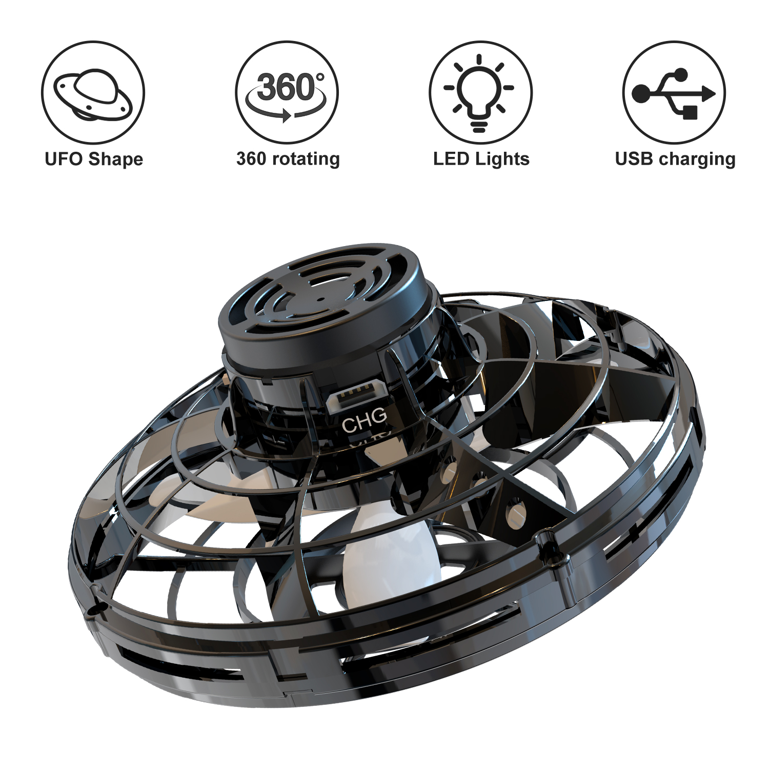 LED Flying Spinner Mini Drone Fingertip Spinner Parent-child Flying Gyro Aircraft Fun Interactive Toy Gift