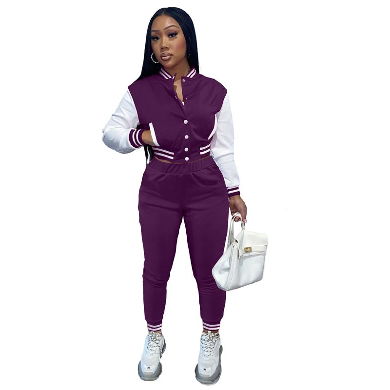 2021 Fall Women Clothes Women Joggers Suits Baseball Set Botton  Custom  Logo Tracksuit Two Piece Pants Set Women
