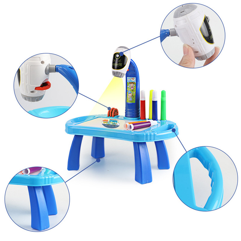 Led Projector Art Drawing Table Toys Kids Painting Board Desk Arts And Crafts Projection Educational Learning Toy