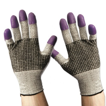Industrial HPPE Knitted Dipped Purple Nitrile Heavy Duty Work Hand Protection Cut Resistant Gloves