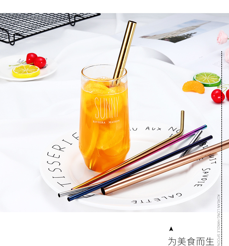 Eco-friendly Colorful Creative Milk Tea Coffee Drinking Straw 304 Stainless Steel Straw