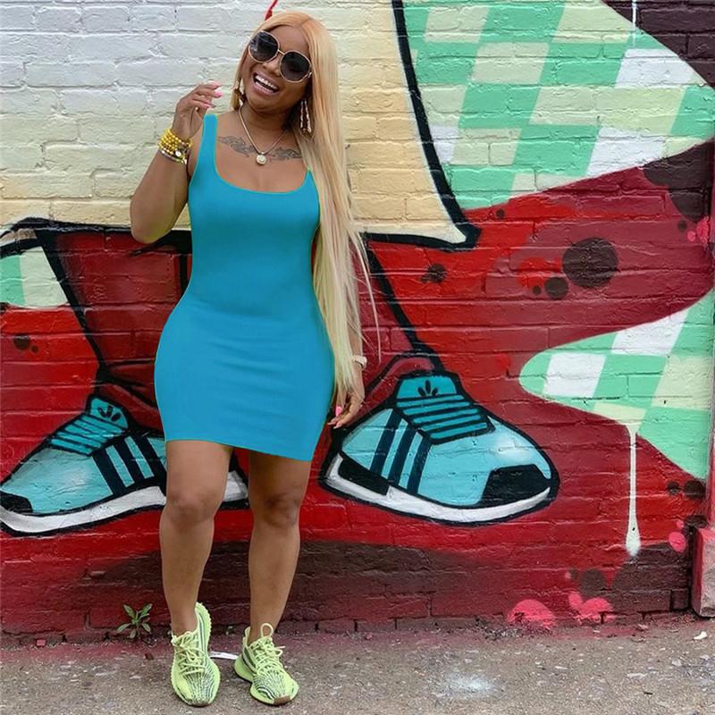 ФЛУОРЕСЦЕНТНОЕ однотонное летнее Короткое мини-платье большого размера, повседневная одежда на бретелях без рукавов, платья, женская одежда, платье на бретелях