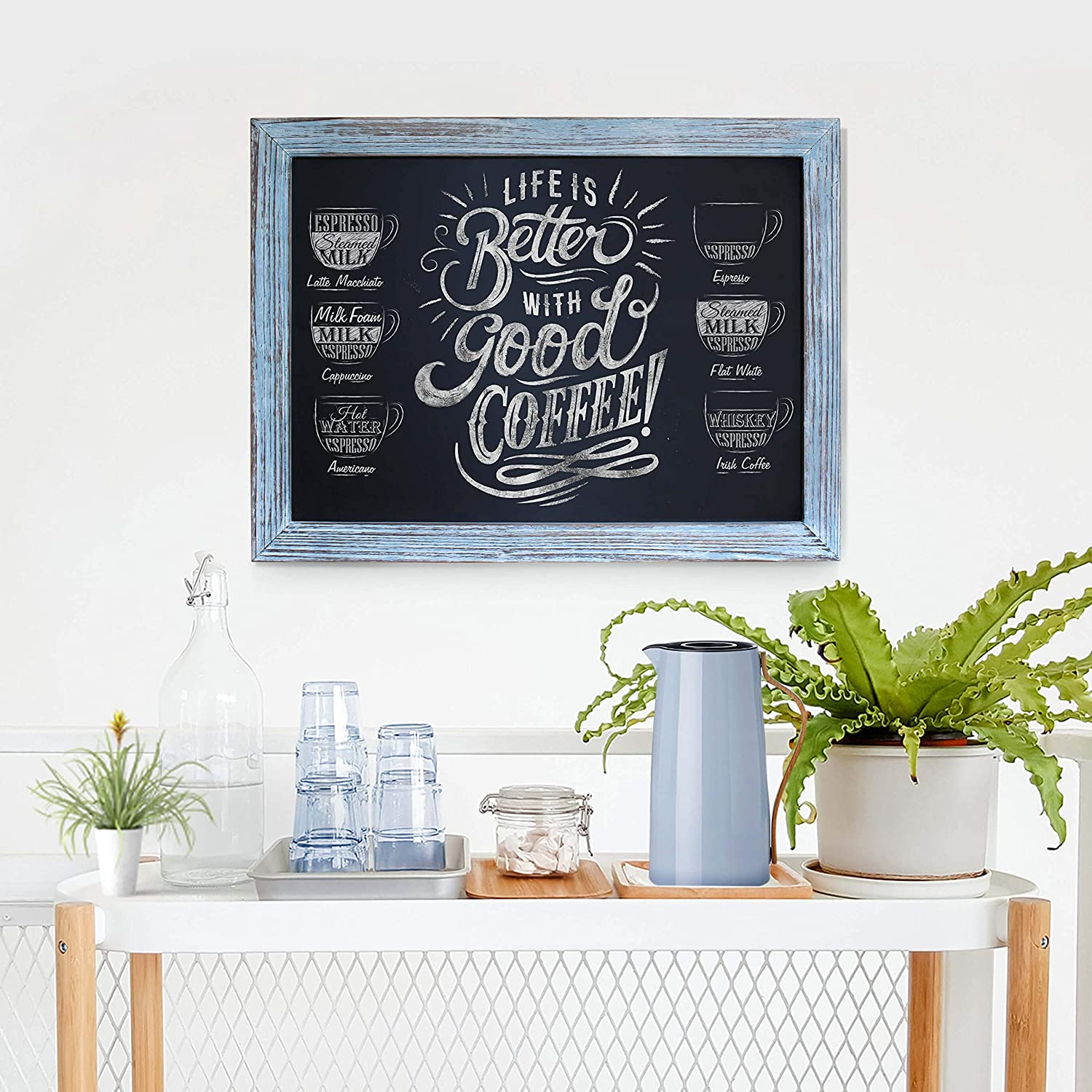 Rustic Blue Magnetic Wall Chalkboard, Framed Decorative - Great for Kitchen Decor, Weddings, Restaurant Menus and More - Yola WhiteBoard | szyola.net