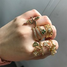Fashion Jewelry 18k gold plated snake ring cubic zirconia colorful ring for women