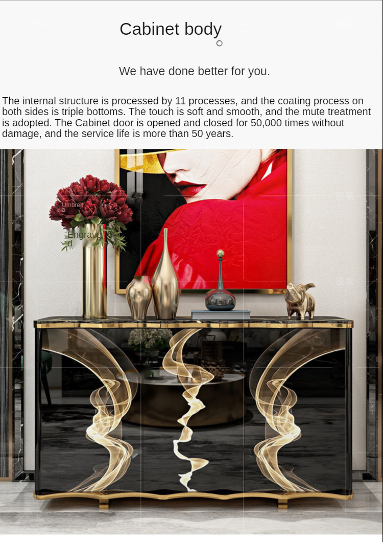 Hong Kong type light luxurious wind eats side ark marble sitting room porch takes the door a few eat side ark