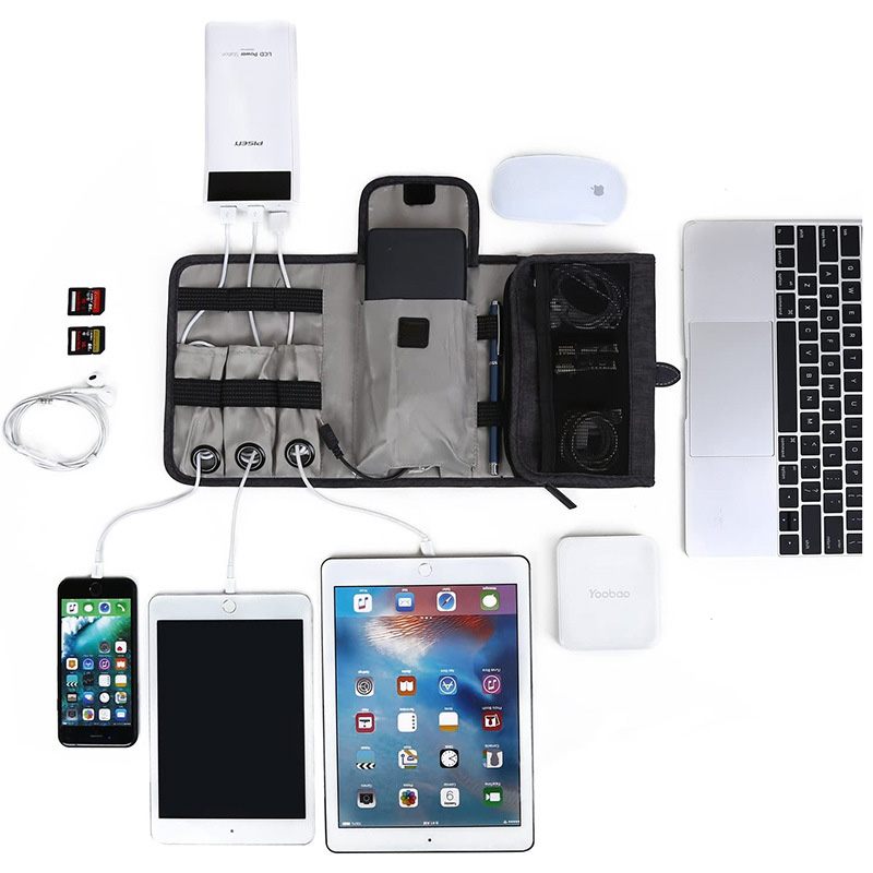 Cable storage Travel Water Resistant Cable Electronics Organizer Roll Up Folding Pouch Bag  Accessories Cases for USB Cable