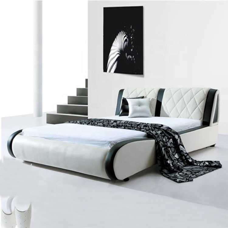 latest luxury double bed designs light white color leather cover headboard kingsize bed frame luxury leather bed