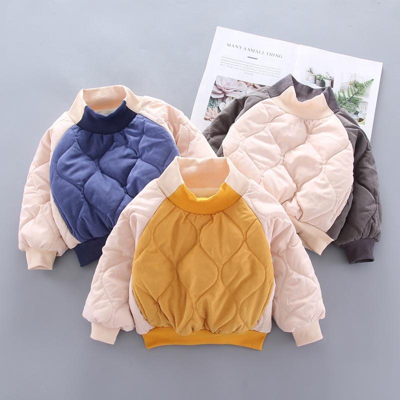 Детская одежда B51536A для маленьких мальчиков, зимняя новая модная цветная теплая толстовка в стиле пэчворк