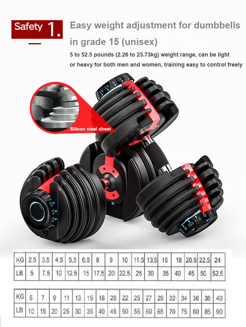 24kg 52.5LB Fitness Equipment Gym Weights Set Adjustable Dumbbell For Body Building Custom Dumbbell Adjustable