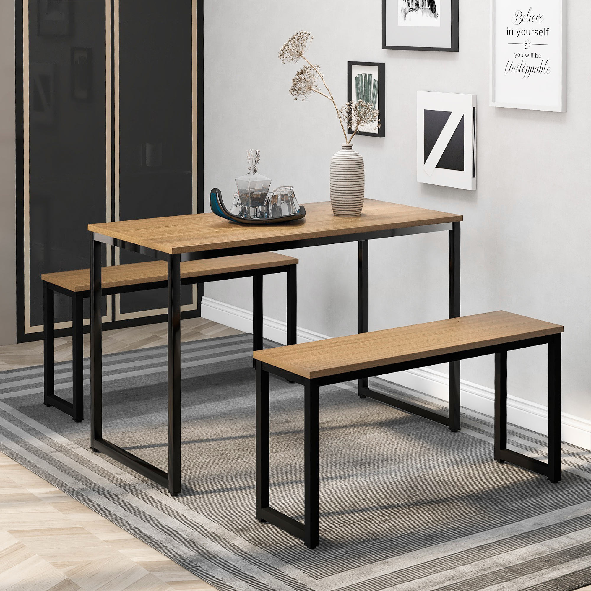 Modern Dining Table With Bench Compact Dining Set Use For Small ...