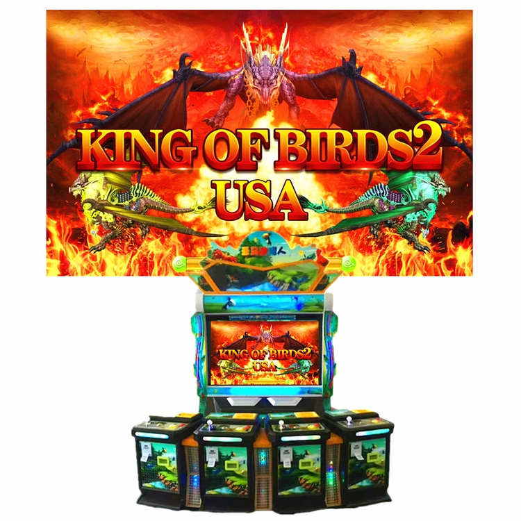 3D High-Definition Casino 4 Payer Fish Game King Of Birds 2 Coin Pusher Game Machine