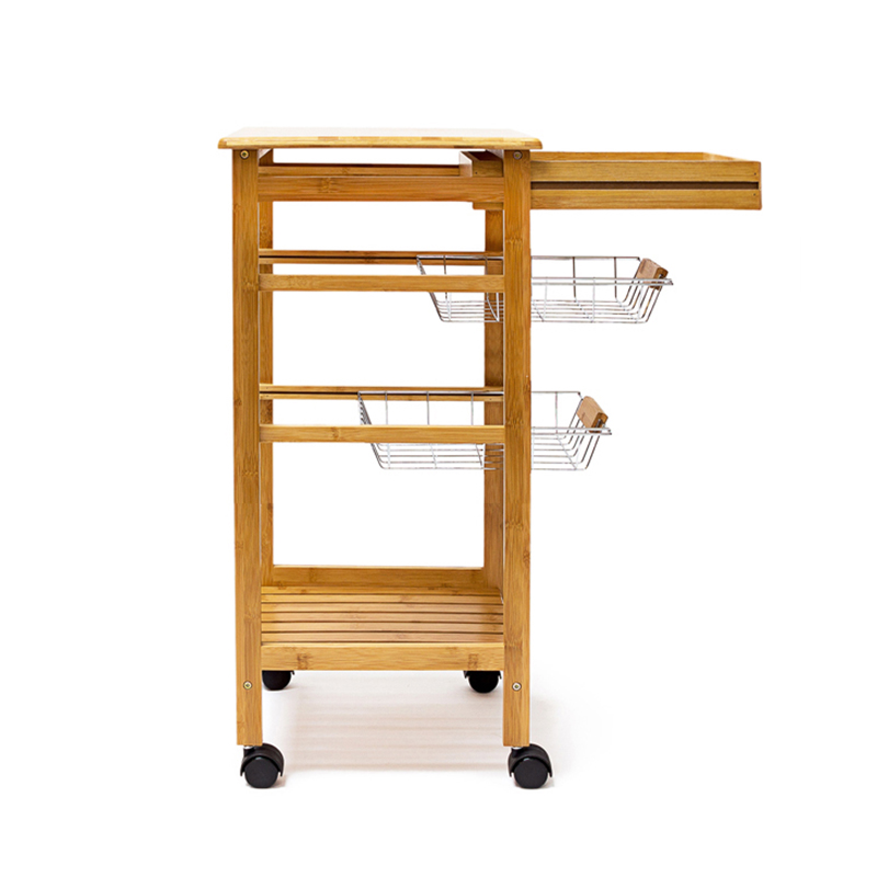 Bamboo Kitchen Serving Trolley Cart 3 Tier kitchen trolley with wheel