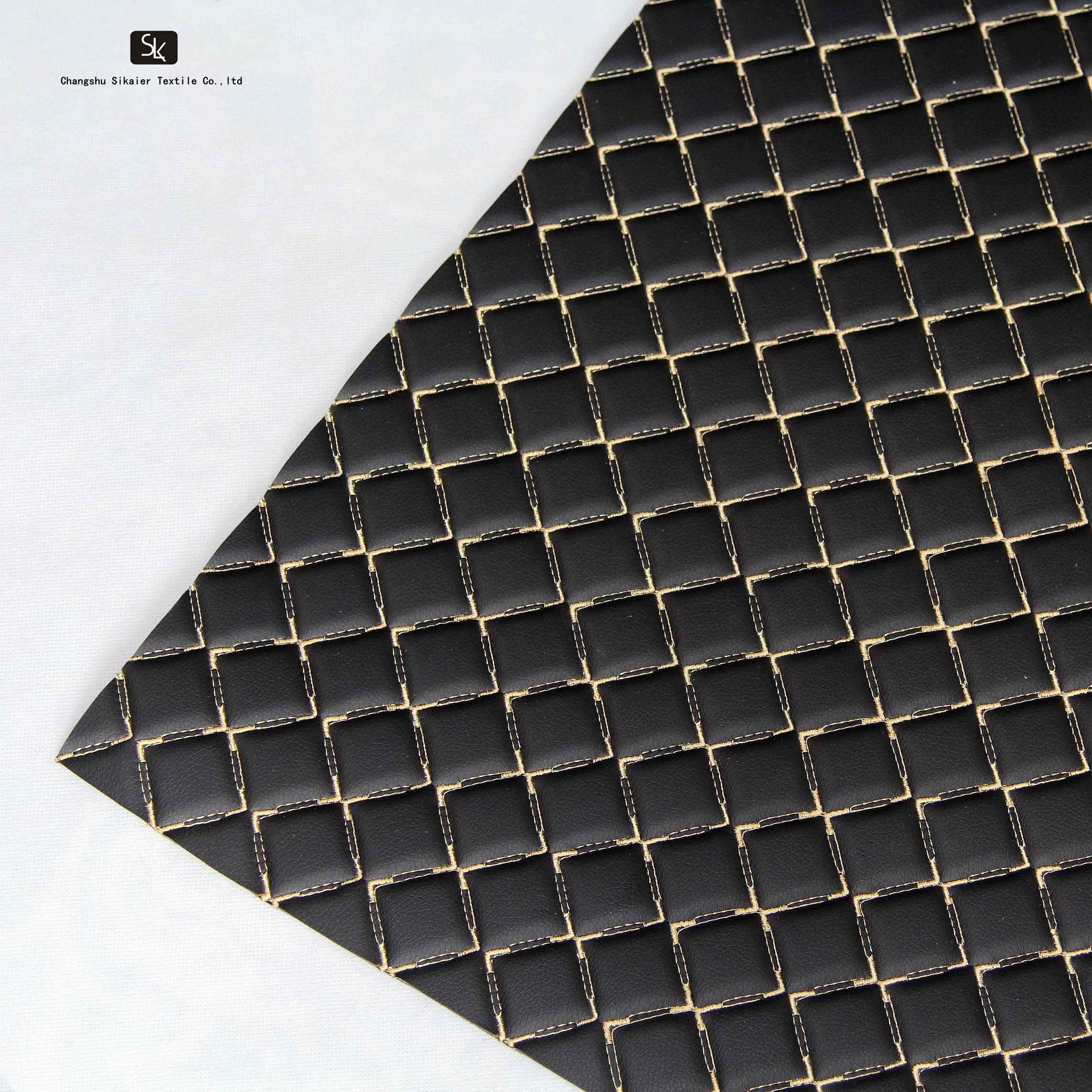 Вышивка PU ПВХ синтетическая кожа с пеной для автомобильного сиденья для мебели