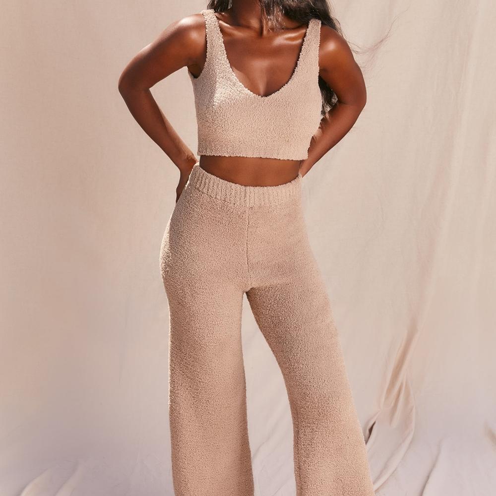 2020 Ladies Fuzzy Sherpa Fleece Plush Sweater Two Piece Set V-neck Vest Pants 2 Piece Set Women Knit Sweater Set Outfits