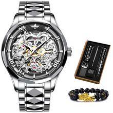 Роскошные мужские механические наручные часы с скелетом, водонепроницаемые деловые часы с сапфировым стеклом, мужские часы reloj hombre, мужской...(Китай)
