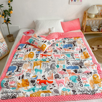 Custom super soft natural thick kids comfort blankets cute double layers kids blanket children's