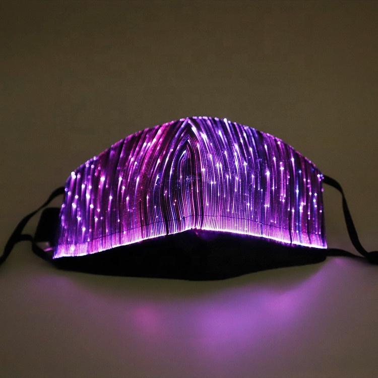 New DJ Colorful Christmas Halloween LED Flashing Mask Optical Fiber LED Rave Party Mask for Festival Club