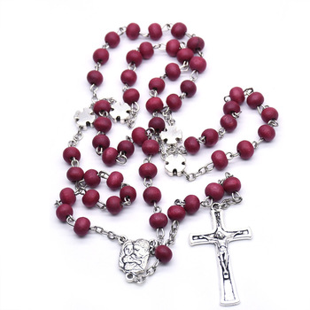 Red Rose Smell Scented Olive Wooden Rosary Beads Cross Necklace Metal cross father beads
