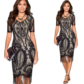Wholesale hot sale lace black cocktail dress for party V-neck short sleeve tassel hem bodycon evening gown dress