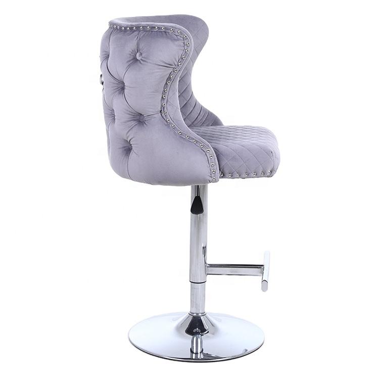 Modern Wholesale High Quality velvet bar stool chair with back lion knock