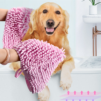 Soft Ultra Absorbent Microfiber Pet Bath Towel For Small Medium Dog Pets Dog Towel Hand Pockets Fast Drying