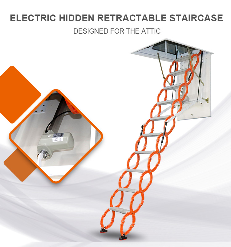 Fully automatic loft telescopic stair household engineering electric thickening duplex villa invisible