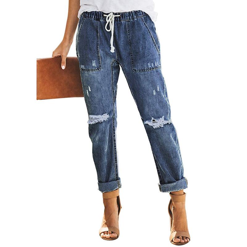 Newest Women Jeans Blue Wash Sash Tie Wide Leg Denim Jeans Buy Women Jeans Denim Jeans Product On Alibaba Com