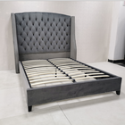 Cheap price OEM american furniture luxury upholstery velvet hotel king bed frame